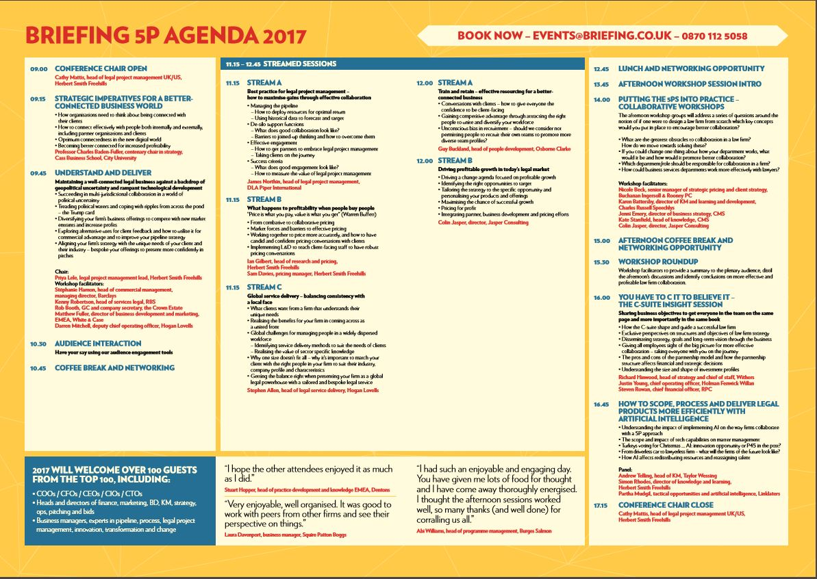 Get the Briefing 5P conference agenda