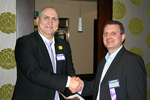 PIcture of prize winner, Simon Davis and Nik Lakic from Linetime