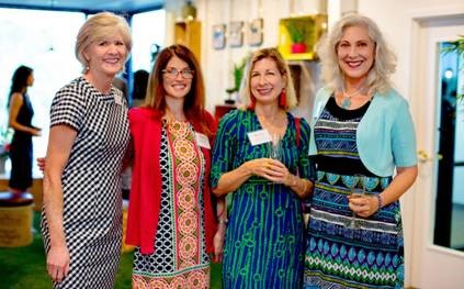 From left to right: Charlotte Glover, Moneypenny's Director of Operations pictured in Moneypenny's new Charleston office with guests: Cynthia Borrelli (Keystone HR Consulting), Laura Camacho (Mixonian Institute) and Laura Knotts (LaunchPath)